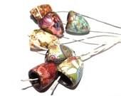 Ceramic Bloom Bell Beads Bead Set Handmade Stoneware OOAK Unique Unusual