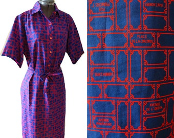 VTG 70s 80s LANVIN Button Down Abstract Print Resort Garden Party Spring Midi Work dress 12
