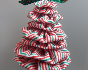 Red, Green and White Pinstripe Fabric Tree Ornament