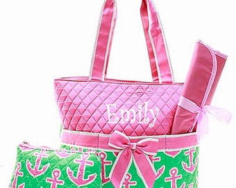 SALE Personalized Anchor Diaper Bag Set Baby Girl Pink & Green Diaperbag 3 piece set Monogrammed FREE