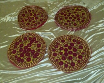 Vintage Pakistani Round Pillow Covers Hand Decorated with Inset Mirrors