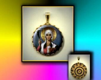 St Nina Patron Saint of Georgia hand pressed flat button CABOCHON in Brass Charm / Pendant
