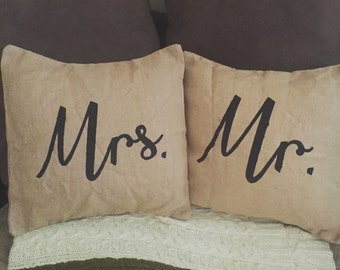 Mr and Mrs Pillow covers (insert included)