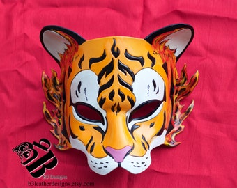 Special Sale!  Fire Tiger Handmade Leather Mask