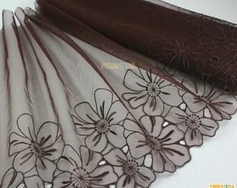 Terylene Lace Trim Vermeil Tulle Lace Trim Floral Embroidery Lace Trim 25cm Width -- 2 Yards (LACE222)