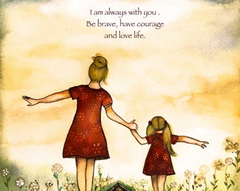 """Blonde Mother and daughter """"our path"""" art print with quote"""