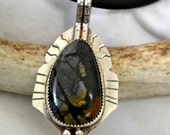 "Sterling silver pendant with picasso jasper.  ""NightFire"""