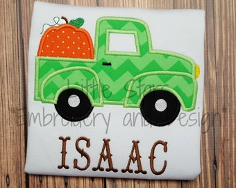 Truck with Pumpkin- Embroidered and Personalized Shirt - Colored shirts are Extra