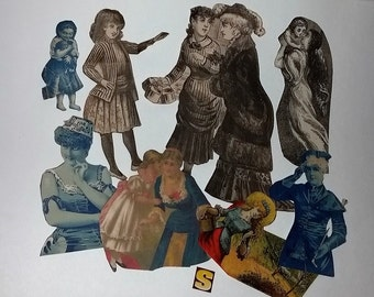 s antique Victorian scrap paper cut outs 8 newspaper magazine illustrations women girls ladies scrap art supplies vintage ephemera