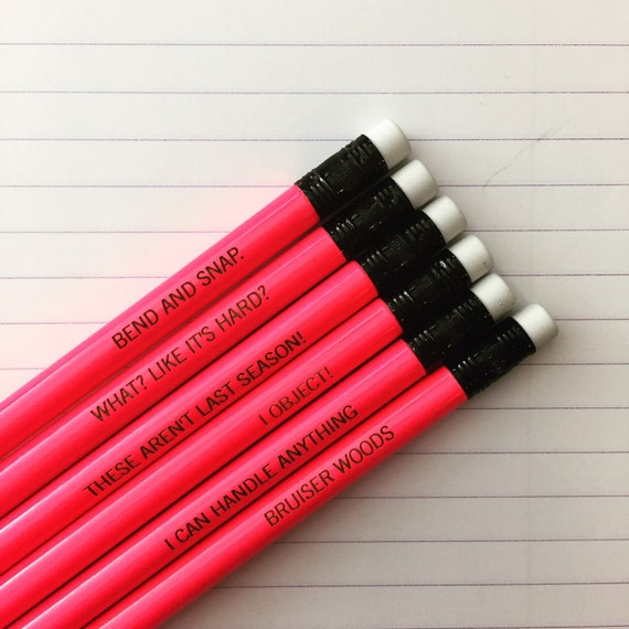 the brilliant blonde assorted engraved pencil set 6 hot pink pencils. Back to school