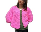 Fluffy Top Sweater Bolero Jacket Thick Warm Hot Pink Short Women Girly Jacket Handmade Knitted Fluffy Cardigan/Sweater Ready to ship Size M.