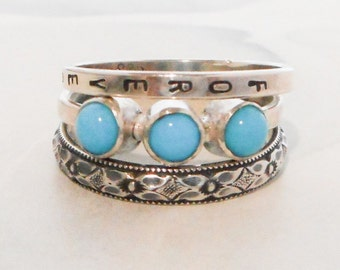 Rustic Floral and Triple Turquoise Ring // Personalized Stacking Ring // Sterling Silver and Sleeping Beauty Turquoise