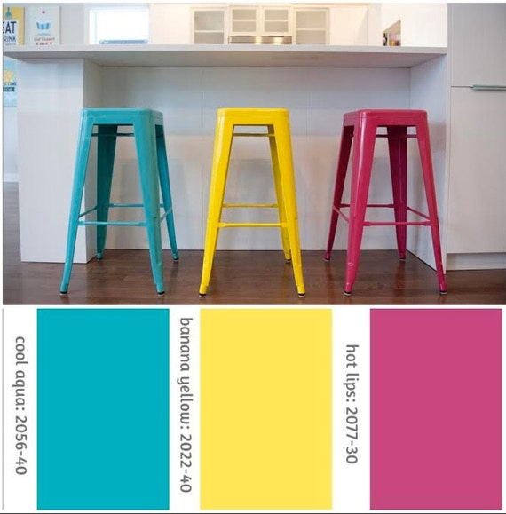 "Custom Painted Tolix Style Stool in the Color of your Choice 26"" or 30"" Bar Height"