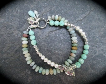 Beaded Gemstone Bracelet Double Strand with Amazonite and Turquoise Magnesite beads and Silver Lois Hill Tribe Charms Artisan Catalog Style