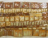 115+ Handmade Mosaic Tile Pieces Ceramic Stoneware  Warm Brown Earth Tones Assortment #2