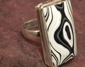 Fordite Ring, Detroit Agate,Bezel Set, Recycled Ring, Car Lover Ring (R18)