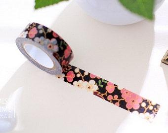 Golden Plum Blossom with Black - Japanese Washi Masking Tape - 11 Yards