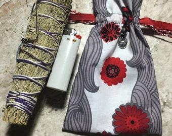 Hippy/Festival/Crystal/Yogi/420/Boho Crystal, Oil, Sage, Palo Santo, 420 bag, sack, pouch, red flowers, gray flourish, laugh often/love much