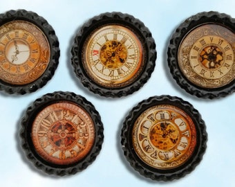 steampunk vintage gold watches bottle cap magnets