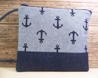 Hip Bag Cross body bag Hipster Bag in a navy blue nautical fabric with anchors , travel bag hands free bag in a perfect size.