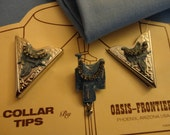 """Supply - Bolo Tie Slide (Blue Saddle) & Matching Shirt Collar Tips - Silver tone metal, blue saddles, rhinestones, """"Oasis-Frontier - U.S.A."""""""