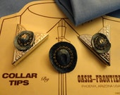 """Supply - Bolo Tie Slide (Blue Cowboy Hat) Matching Shirt Collar Tips, Silver tone metal, blue Hats, rhinestones, """"Oasis-Frontier - U.S.A."""""""