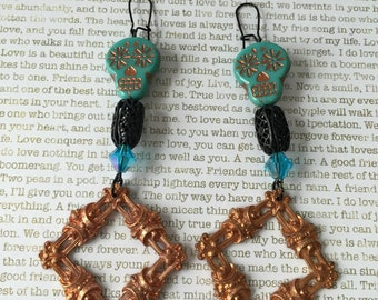 Sugar Skull Earrings - OOAK Made With Czech Crystals In Turquoise and Copper With a Vintage French Brass Frame And Blue Swarovski Beads