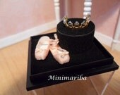 Miniature dollhouse ballet shoes and tiara