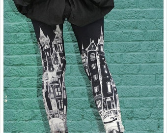 preorder - Victorian CITY scape Leggings, Womens Black printed Leggings, tights, bottoms, pants, yoga, athletic wear, carousel ink