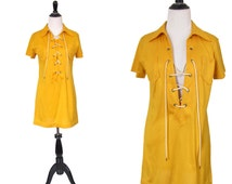 Vintage 1970's Dress l Tunic l Yellow Micro Mini Lace Up l Size Small l Vintage Tunic