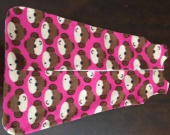 READY TO SHIP- Pink Monkeys Sleep Sack, Blanket Sleeper, Zipper Sack, Baby