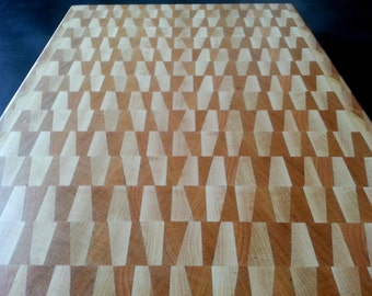 Maple and Cherry End Grain Butcher Block Cutting Presentation Board 15.75 x 12 x 1.5 In Stock