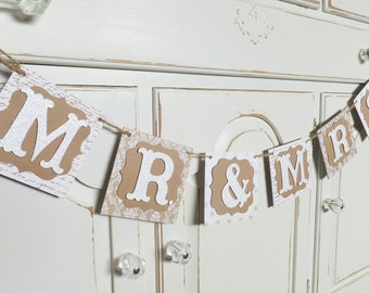 """Fall Wedding """"MR. & MRS."""" Banner ~ Photo Prop ~ Rustic Chic Decor ~ Burlap and White Colored Papers"""