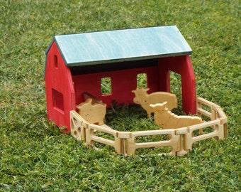 Wood Barn Playset Kit with Farm Animals