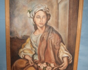 Large vintage oil framed oil painting portrait on board 63 cm by 89 cm