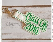 Class of 2016 In The Hoop Snap Tab Key Fob Machine Embroidery Design