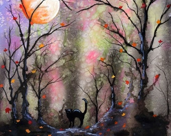 Print MoonLit Fall Forest with Cat in Watercolor // trees, full moon, haunted, dark, occult,witches,painting,art,artwork,halloween,black cat