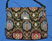 Vintage 60s 70s Black Pink Blue Floral Tapestry Purse Pocketbook Carpet Bag With Handle Clasp Flap Hippie Boho Handbag
