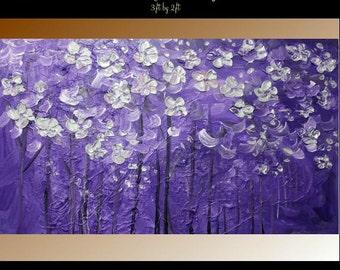 """Large Original  abstract contemporary fine artPurples,silver"""" Midnight Party""""textured impasto painting by Nicolette Vaughan Horner"""