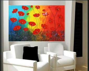 """Sale Original 36"""" gallery canvas Abstract painting,Original contemporary Red Poppies,lots of texture by Nicolette Vaughan Horner"""