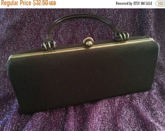 Christmas In July Sale Vintage Brown Purse 1950's 1960's Mad Men Mod Clutch Box Handbag Rockabilly Mid Century Accessories