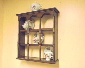 Wood 3 Tier Display Teacup & Saucer Curio Wall Shelf with Columns - Holds 9 Cups / Saucers -Style #2