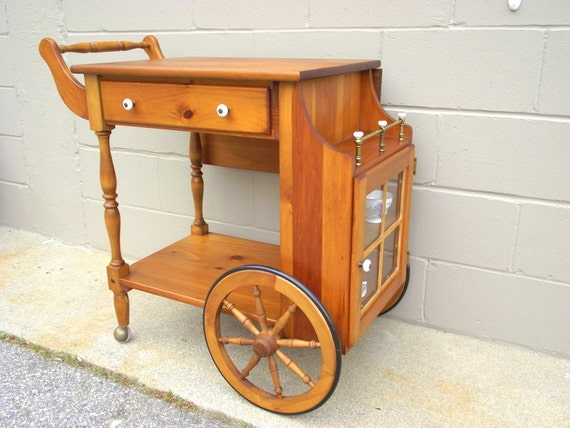 Wood Serving Cart ~ Wood drop leaf serving tea cart with glass door rolling wheels