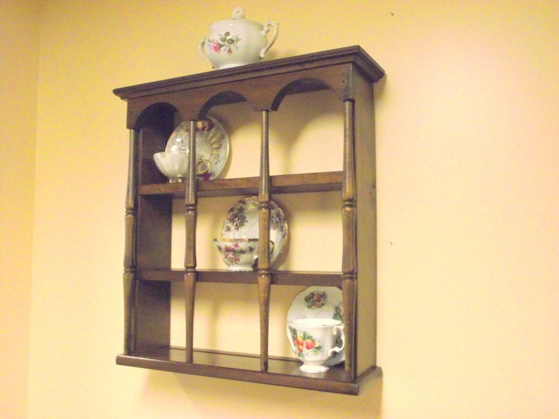 Wood 3 Tier Display Teacup Amp Saucer Curio Wall Shelf With
