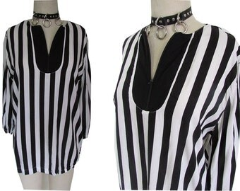 Black White Striped Mod Loose Punk Retro New Wave Shirt