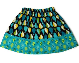 Girls Skirt Blue Pears - Size 6-12 month, 12-18 month, 2 / 3, 4 / 5, 6 / 7, 8 / 9