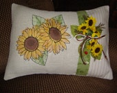 Sunflower Decorated  Burlap Throw Pillow Cover 12 By 16 Size Painted Look Sunflower Machine Embroidered