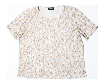 Vintage 90s Charmell Green Floral Crimped Top UK 18 US 16