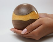 Handmade Wooden Egg Art Sculpture made of Black Walnut Turned & Carved with Brilliantly Colored Pearl Golden Resin Embed Contemporary Art