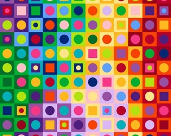 COLORWORKS Northcott Fabric panel cotton quilt fabric circles dots squares in squares cheater cloth